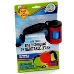 SMALL RETRACTABLE LEASH w DISPOSABLE BAG - RED 12201