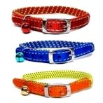 CAT COLLAR (DOTS)(RED/BLUE/YELLOW) BW/NCE10MT