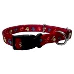 ADJUSTABLE COLLAR (PAWS) (RED) BW/NYCR10PRD