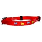 NYLON WEBBING COLLAR w PAWS (RED) BW/NYCH10PRD