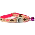 CAT COLLAR -  ARGYLE WITH BELL (BEIGE) BWCCARGYLEBI