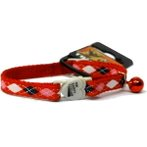 CAT COLLAR -  ARGYLE WITH BELL (RED) BWCCARGYLERD