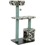 CAT TREE 3 TIER WITH BOX HOME & TOY (CAMO) YS89291