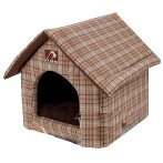 PET HOUSE - CHECKED (BROWN) (MEDIUM) YF95133M