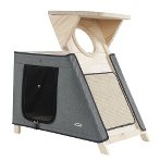 3 TIERS WOODEN CAT TREE WITH HOME (GREY) SUN0KFW1060