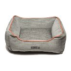 LOUNGER BED (LIGHT GREY / ORANGE PIPING) (EXTRA LARGE) DGS0KONGHLB3752
